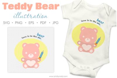 Teddy Bear cute love quote SVG clipart.