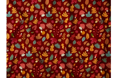 Autumn leaves mushroom seamless pattern