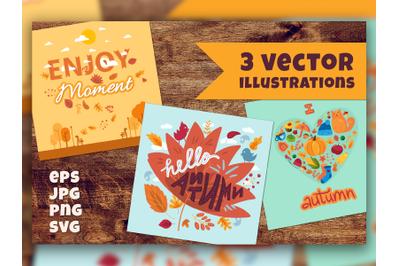 Autumn Cartoon Lettering Set