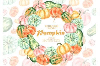 Pumpkins watercolor clipart. Pumpkin frame PNG. Fall. Thanksgiving.