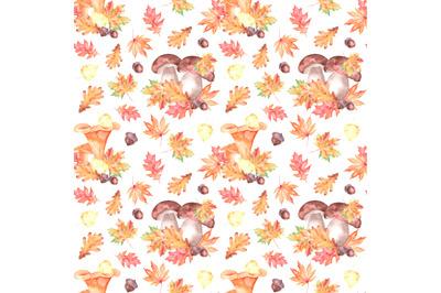 Mushrooms watercolor seamless pattern. Fall forest. Chanterelles