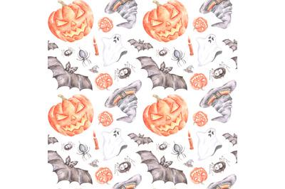 Halloween watercolor seamless pattern. Horror. Pumpkin