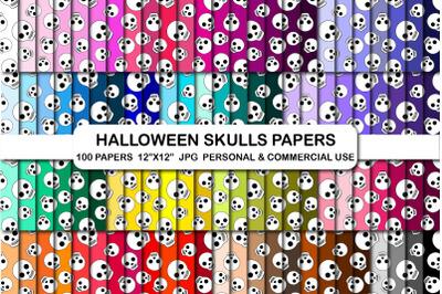 Halloween Skulls Pattern Digital Papers, Skull Digital Paper