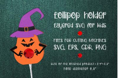 Halloween Pumpkin Lollipop Holder Template SVG