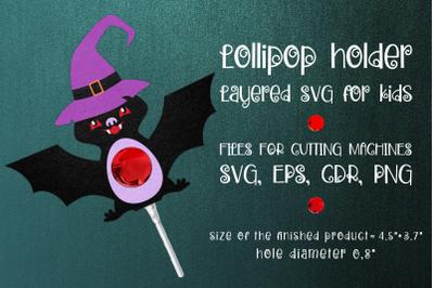 Halloween Bat Lollipop Holder Template SVG