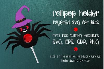 Halloween Spider Lollipop Holder Template SVG