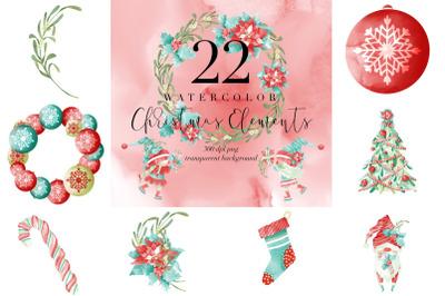 22 Watercolor Christmas Graphic, Xmas Decor Transparent PNG, Clipart
