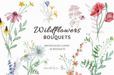 Watercolor Wildflowers Bouquets clipart