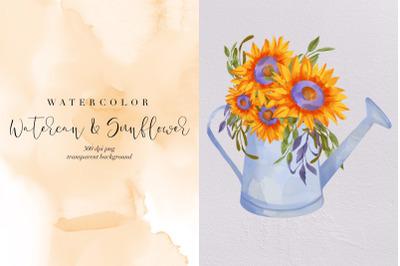 Watercan And Sunflower PNG, Summer Flower Watercolor, Garden, Clipart
