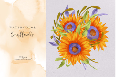 Sunflowers PNG, Summer Flowers, Floral Watercolor, Sunflower Clipart