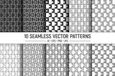 10 seamless geometric tiles patterns