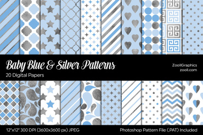 Baby Blue & Silver Digital Papers
