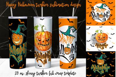 Happy Halloween tumbler sublimation design.