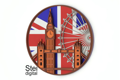 3d layered London mandala SVG, DXF cut files. England layered design.