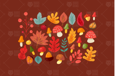 Autumn Leaves And Mushrooms Set