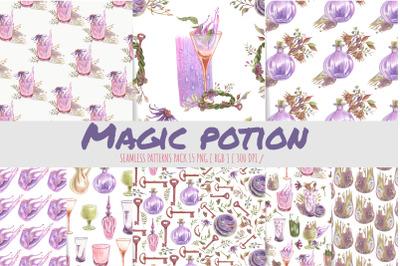 Potion botteles seamless pattern. Digital background.