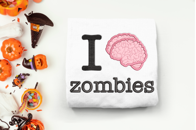 I Brain Zombies | Applique Embroidery