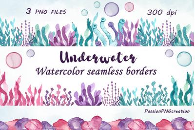 Seamless Underwater Borders clipart