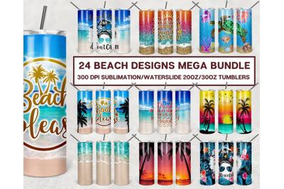 Beach 20 oz Skinny Tumbler Sublimation Bundle, Seamless Tumbler Design