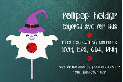 Halloween Ghost Lollipop Holder Template SVG