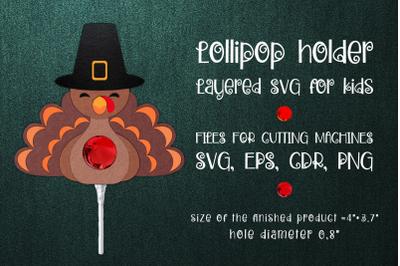 Thanksgiving Turkey Lollipop Holder template SVG