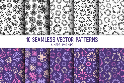 10 round ornaments seamless vector patterns