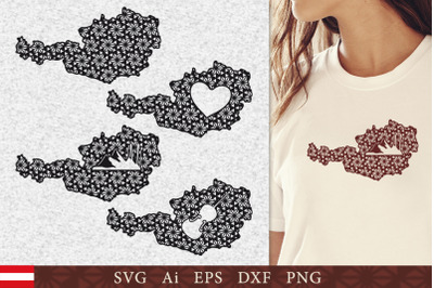 Silhouette of Austria with pattern. SVG