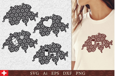Silhouette of Switzerland with pattern. SVG