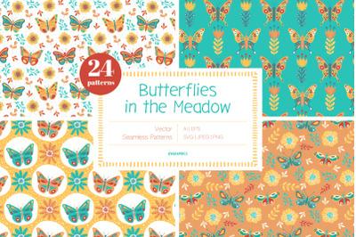 Butterflies in the Meadow Vector Patterns