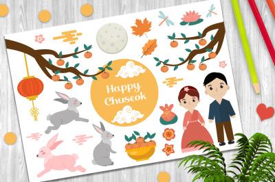 Happy Chuseok vector clip art + PNG