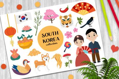 South Korea set vector clip art +PNG