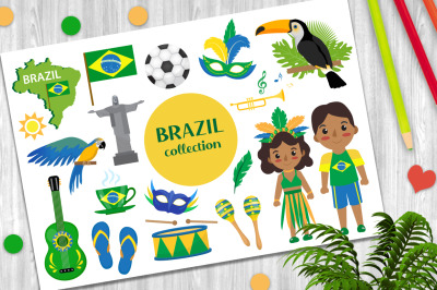Brazilian carnival set clip art vector and PNG