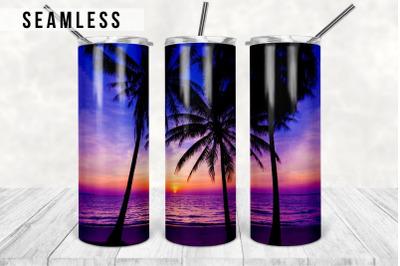 Beach Sunset Tumbler, Digital Design, 20 Oz Skinny Tumbler Beach Summe