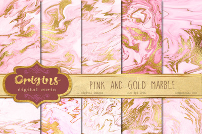 Pink and Gold Marble