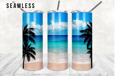 Ocean Palm Trees 20oz Skinny Tapered & Straight Seamless Tumbler