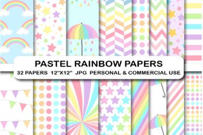 32 Pastel Rainbow Digital Papers Pack