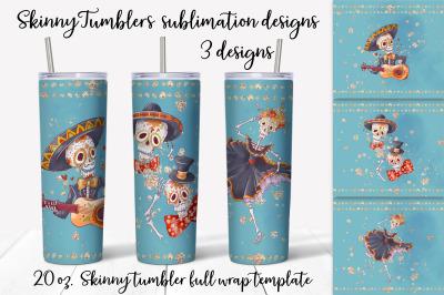 Dia de Muertos sublimation design. Skinny tumbler wrap design.