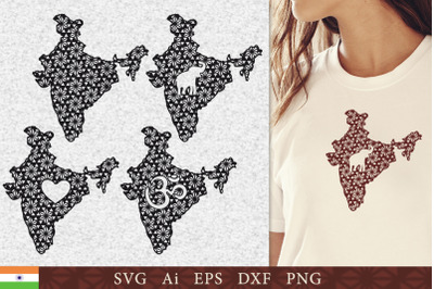 Silhouette of India with a pattern. SVG