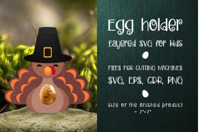 Thanksgiving Turkey Egg Holder template SVG