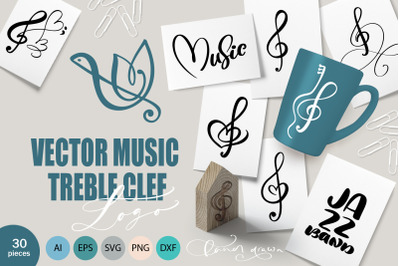 Vector Music Treble Clef Logo