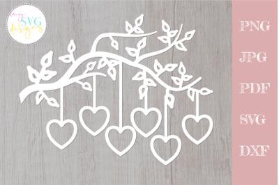 Family tree svg 6 members, tree branch svg 6 hearts