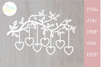 Family tree svg 7 members, tree branch svg 7 hearts