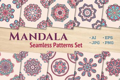 10 seamless mandala vector patterns