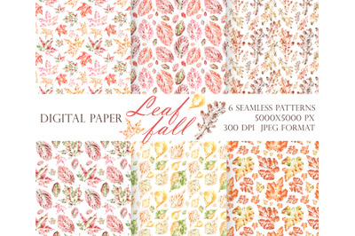 Leaf fall digital paper (seamless patterns). Watercolor autumn leaves.
