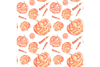 Halloween pumpkins watercolor seamless pattern. Halloween print