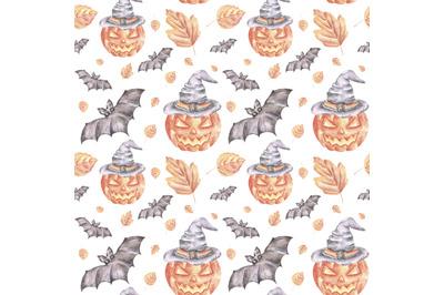 Halloween party watercolor seamless pattern. Halloween pattern