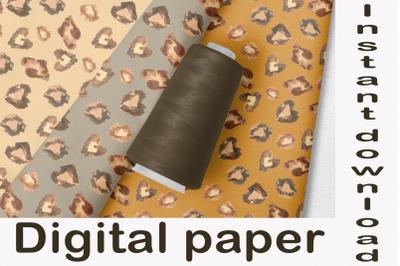 Watercolor leopard print digital paper, Animal print digital scrapbook