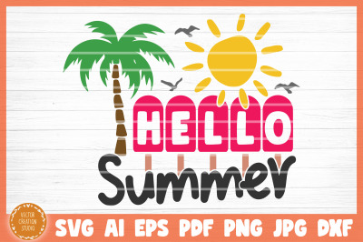 Hello Summer Beach SVG Cut File