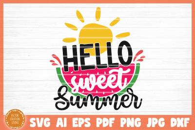 Hello Sweet Summer Beach SVG Cut File