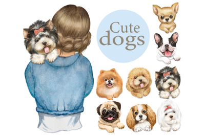 Cute dogs watercolor clipart.Girls and dogs, spitz, pomeranian, poodle